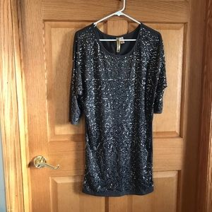 Eyeshadow, gray sequins blouse size medium